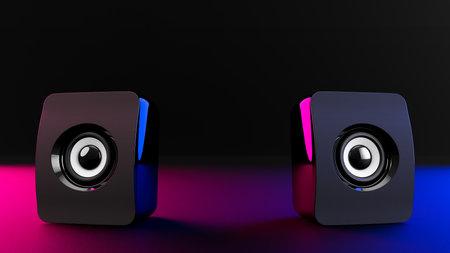Speaker on dark night background with magenta and blue light. 3D Render.