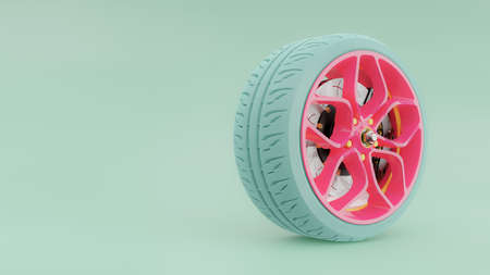 Pink alloy wheel with blue tires with modern Brake Disc and Calliper carbon fiber. Green-Blue pastel background with clipping path and copy space for your text. 3D render.