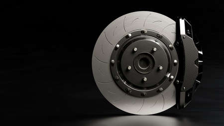 Brake Disc and Black Calliper on Looks like the road is wet and dark background. Brake from Racing car with Clipping path and copy space for your text. 3D Render. 免版税图像