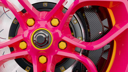 Pink alloy wheel and modern brake disc close up. Abstract background, 3D render. 免版税图像