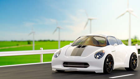 Car run on country road. With wind turbine and green field and clear skies. Energy and Environment idea concept, 3D Render.