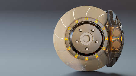 Brake Disc and Clear transparent Calliper on white table. Brake from Racing car with Clipping path and copy space for your text. 3D Render. 免版税图像