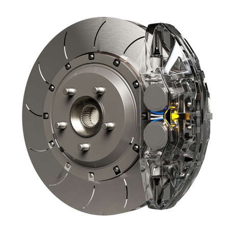 Brake Disc and Clear transparent Calliper for car. Isolated on white background and Clipping path. 3D Render. 免版税图像