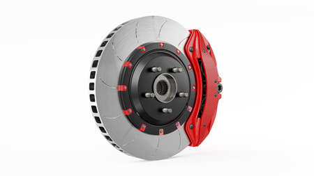 Brake Disc and Red carbon fiber Calliper for car. Isolated on white background and Clipping path. 3D Render.
