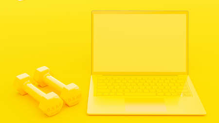 Dumbbell beside Laptop yellow color on rough yellow surface background. Mock-Up for your text. Minimal idea concept, 3D Render.
