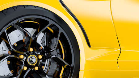 Yellow sport car Close-Up details side. Alloy wheel with brake disc and Black carbon fiber Calliper. 3D Render. 免版税图像