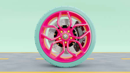 Pink alloy wheel with blue tires with modern Brake Disc and Calliper carbon fiber on road. Green-Blue pastel background. 3D render.