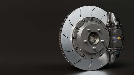 Brake Disc and Clear transparent Calliper on dark night background. Brake from Racing car with Clipping path and copy space for your text. 3D Render.
