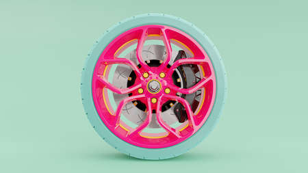 Pink alloy wheel with blue tires with modern Brake Disc and Calliper carbon fiber. Green-Blue pastel background and clipping path. 3D render.