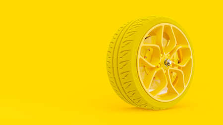 Yellow alloy wheel with yellow tires with modern Brake Disc and Calliper carbon fiber. Minimal idea concept background with clipping path and copy space for your text. 3D render.