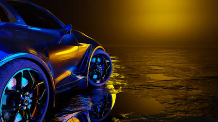 sports car sun shining from the front. 3D Render.