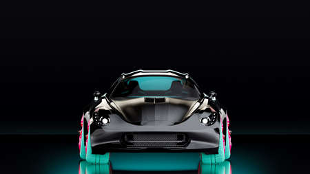 Black sports car with pink alloy wheels and green car tires on dark night background. Clipping path, 3D Render.