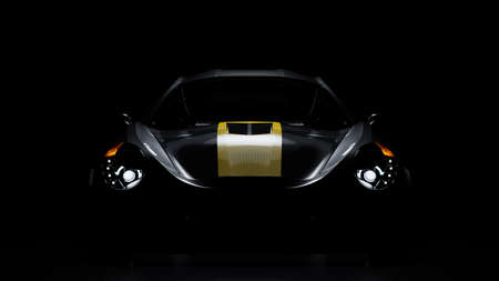 custom car with headlights and light from above on black background. 3D Render.