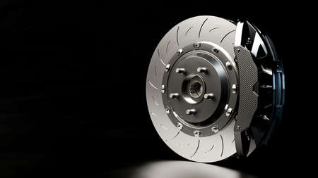 Brake Disc and Black Calliper on dark night background. Brake from Racing car with Clipping path and copy space for your text. 3D Render.
