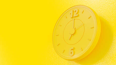 Yellow Clock and copy space for your text. Almost noon time. Minimal idea concept, 3D Render.