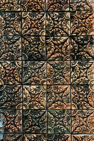 Buddhism red brick pattern thai style Stock Photo