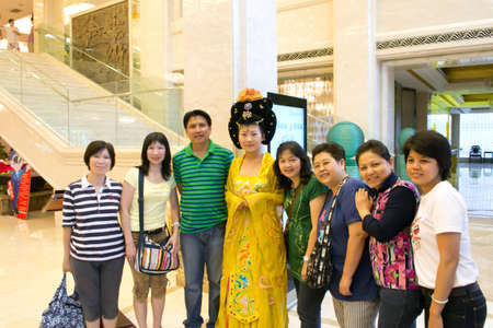 Xian,china 16 July,2011 - group of tourist and Chinese actress  at Tang music and dance show theater