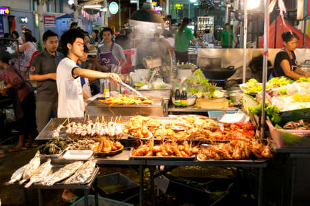 street food: sea food restaurant at hua hin, Thailand Editorial