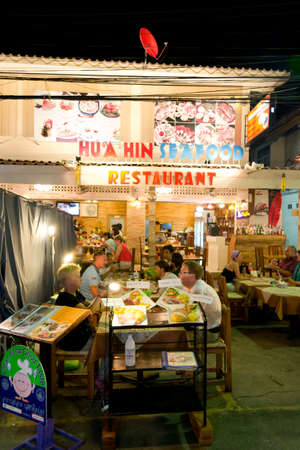 hin: sea food restaurant at hua hin, Thailand Editorial