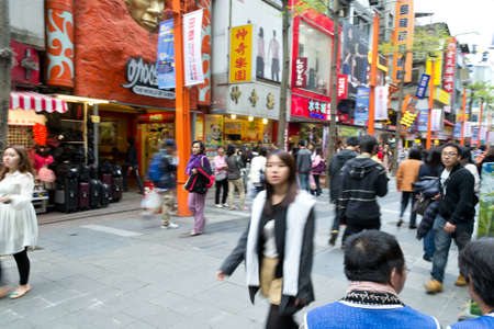 Ximending street market. The most popular shopping of teenage in Taipei,Taiwan Editorial