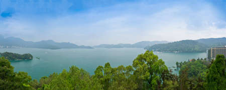 panoramic view of sun & moon lake, the beautiful lake in Taiwan