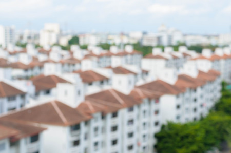 residential tree service: Blurred Background of city - village Stock Photo