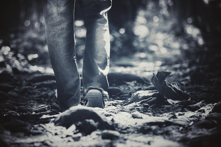 sneakers with pants gene. It can walk in the forest Be active Close to nature (Sepia) Zdjęcie Seryjne
