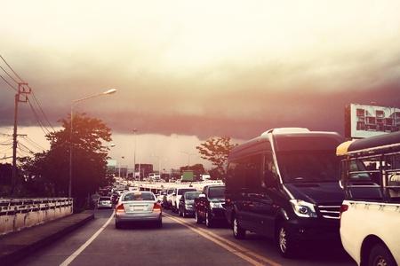 traffic jam Rain near the evening
