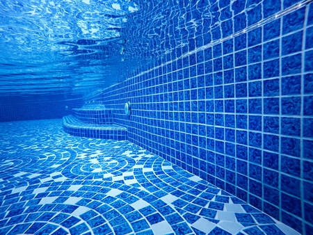 view stair underwater the pool empty background blue water transparent. and mosaic tiles blend ocean.