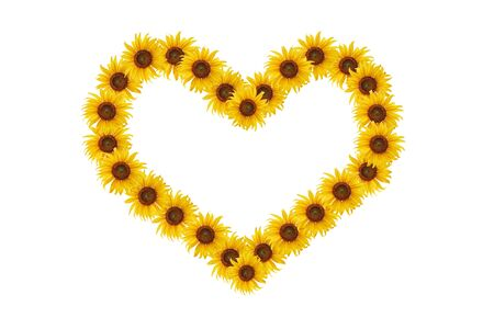 Heart with sunflowers for your design, isolated on white background. photo