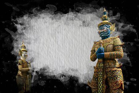 Demon Guardian Wat Phra Kaew Grand Palace Bangkok on frame black and white Stock Photo - 17563452