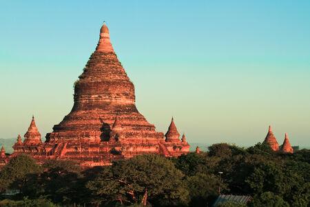 Ancient pagodas in Bagan. Sunrise over the bagan pagodas in Myanmar. photo