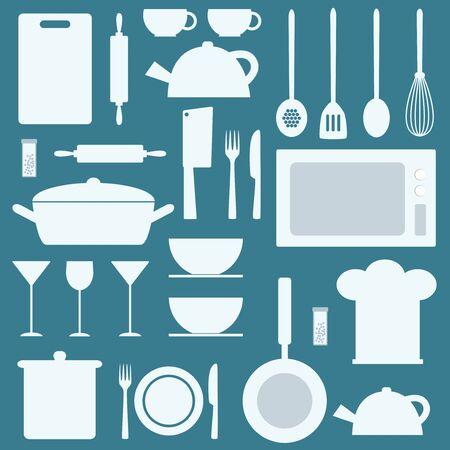 Vector kitchen icons set. Illustration