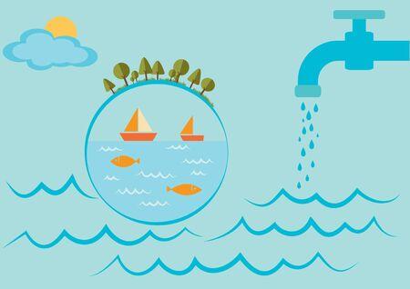 Día Mundial del Agua. Globo flotando en el agua.
