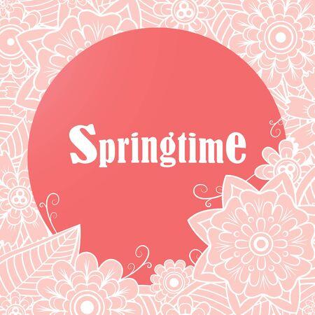 springtime: Vector springtime design for page decoration. Retro floral background.