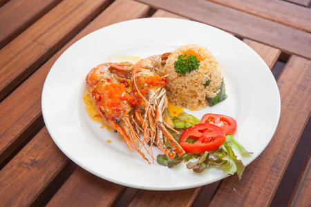 River Prawn with Tamarind Sauce and rice. Stock Photo