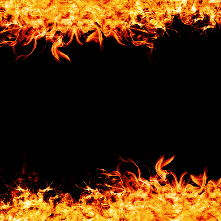 Fire frame or fire strip on balck background.