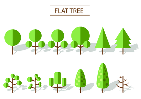 flat tree vector on white background.
