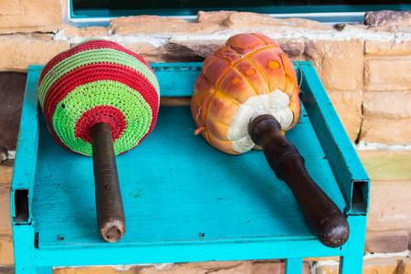 Drum wood in Thai temple.