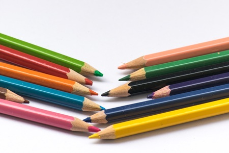 Color pencil on white background. Stock Photo