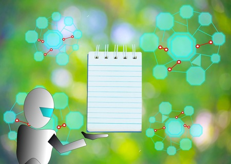 Notepad with pencil and robot vector on wood board background.using wallpaper or for education, business photo.Take note of the product for book with paper and concept or copy space and advertising. Stock Photo