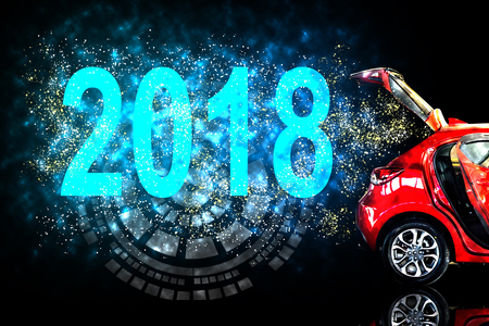 Car tail light red color with vector 2018 for customers. Using wallpaper or background for transport or automotive and happy new year image.