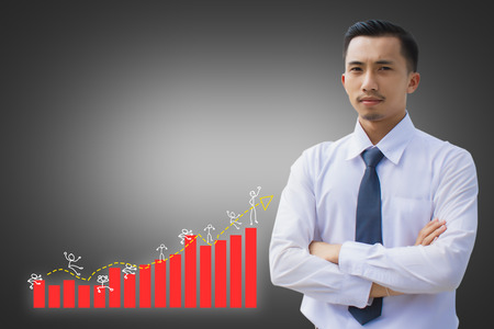 Asian businessmen with stock market for investment trading on black and white background Metaphor for business accounting finance investment or risk benefit increase value money to sustain Stock Photo