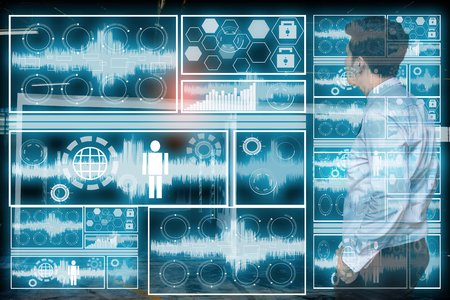 Businessman in technology  room lab data radar polar scan and writing technology concept man working with virtual reality screen black background Stock Photo