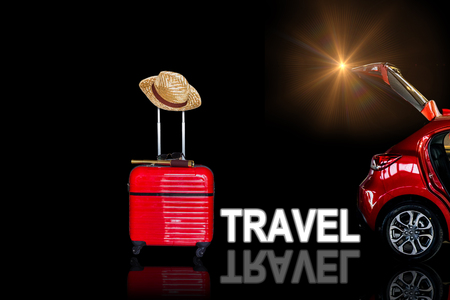 Open car tail red car and Red luggage with camera,  binoculars with hat on isolated  background for activity lifestyle outdoors freedom or travel tourism andinspiration backpacker alone tourist image Stock Photo