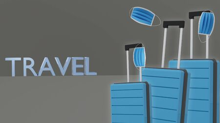 Baggage luggage, suitcase design template mockup minimal style on room isolated background 3d render for travel advertising.