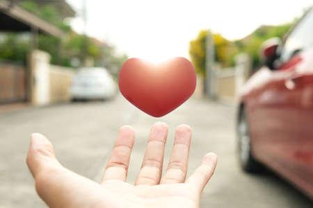 Man hand hold heart love valentine enjoyment to enjoyment communication dating online service