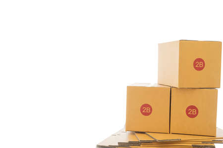 Box package product packaging design express postal mockup carrying for sale online to order from customer shopping home delivery service shipping business package cargo to transportation Stock fotó