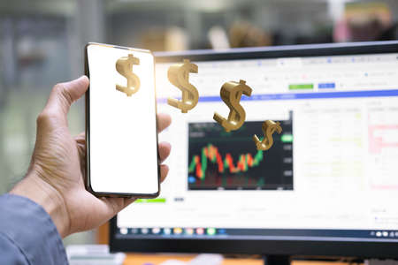 Asian man business holding smartphone tecnology bitcoin in blurry office background. For business people, finance, lifestyle and ethereum or blockchain tecnology change to dollar Stock market