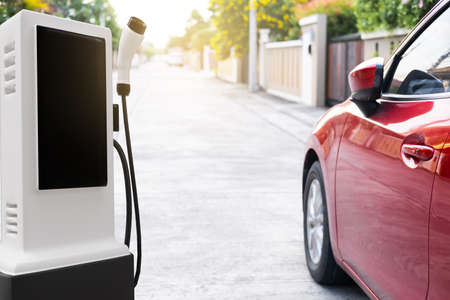 Hi tech industry garage EV-car charger recharge refuel electric station vehicle transport transportation of future Car customers.  for transport or automotive automobile